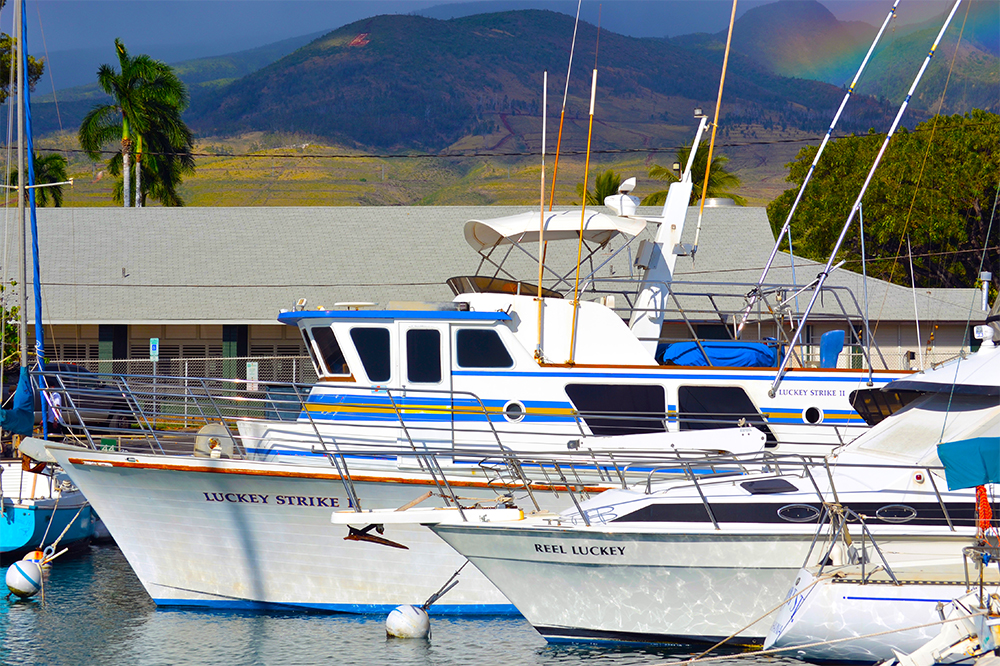 Luckey Strike Sportfishing berthed at Lahaina Harbor